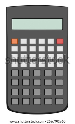 Black scientific calculator without text on buttons isolated on white background - stock photo