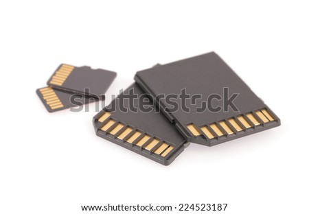 Black SD memory card isolated on white background