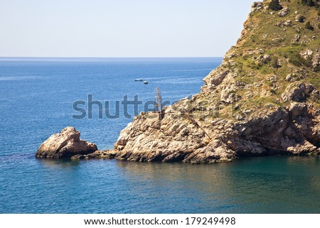Black Sea coast, the entrance from the sea in the bay of Balaklava - stock photo