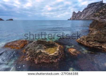 Black sea landscape in Crimea - stock photo