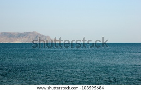 Black sea landscape, view on promontory, evening, Crimea - stock photo