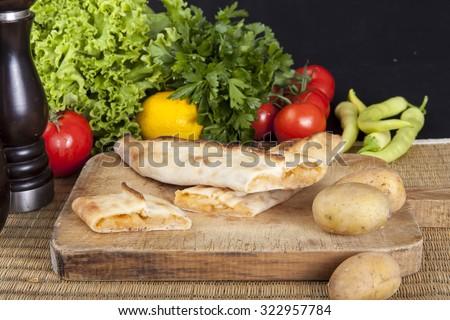 Black Sea pita potatoes - stock photo