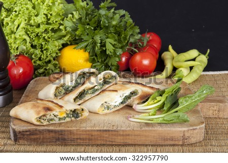 Black Sea pita with spinach, eggs - stock photo