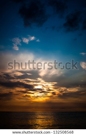 Black Sea Sunset Background, Batumi, Georgia - stock photo