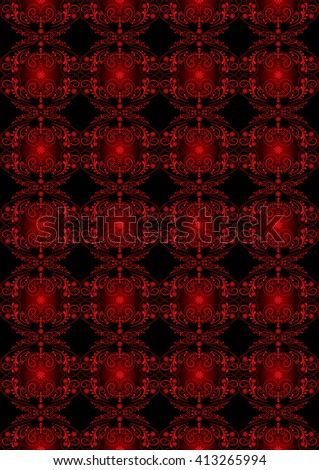 Blackseamless backgroundfrom glowing red floral pattern with cross - stock photo
