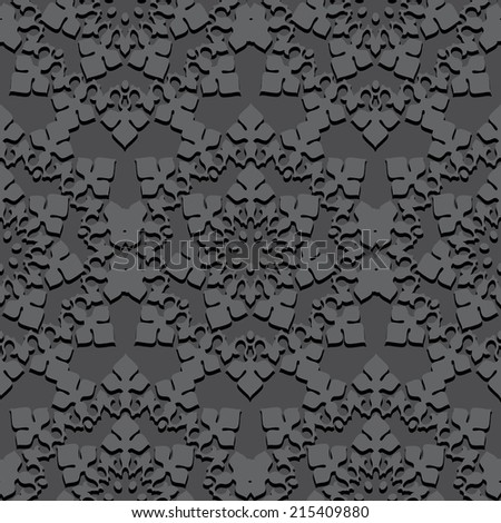Black seamless embossed pattern of gothic rosette or oriental ornament - stock photo