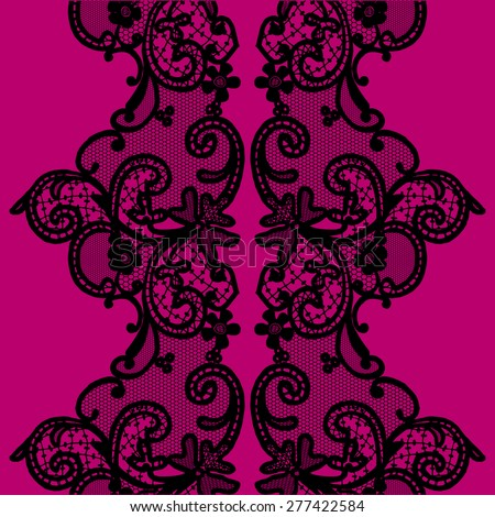 Black seamless lace with a floral ornament, template - stock photo