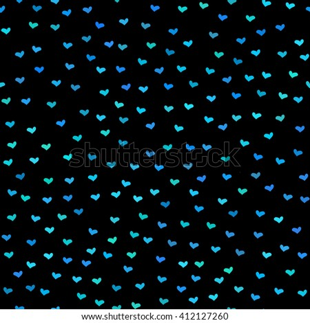 Black seamless pattern. Tiny blue and green hearts. Abstract repeating. Cute backdrop. Dark background. Template for Valentine's, Mother's Day,wedding, scrapbook, surface textures. - stock photo