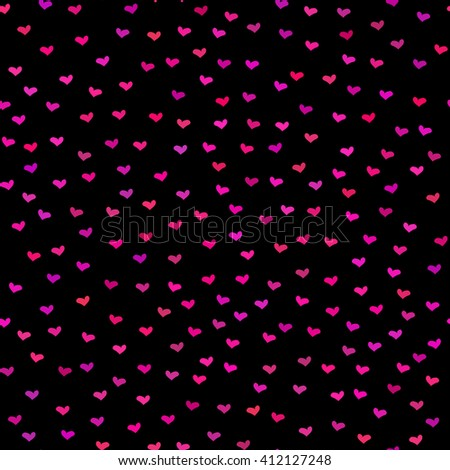 Black seamless pattern. Tiny red and pink hearts. Abstract repeating. Cute backdrop. Dark background. Template for Valentine's, Mother's Day, wedding, scrapbook, surface textures.  - stock photo