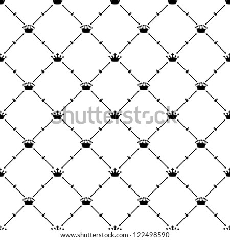 Black seamless pattern with crown symbol, bitmap copy.
