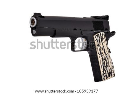 Black Semi Auto handgun on a white background