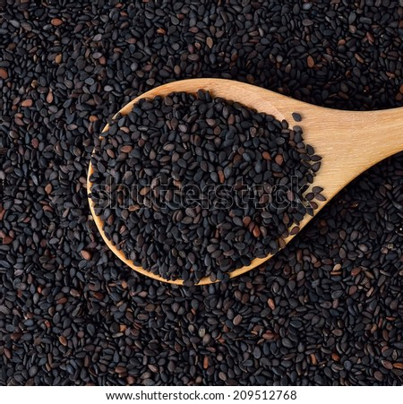 Black sesame seed, cereal, food agriculture background. - stock photo