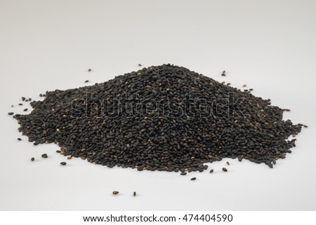 Black sesame with spoon and cup for food,Black sesame for treat health.