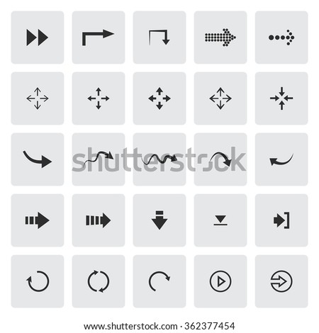 Black set of different arrows - stock photo