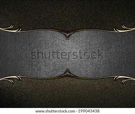 Black shabby background with metal nameplate. Design template. Design site