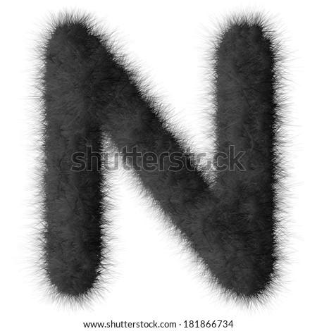 Black shag N letter isolated on white background - stock photo