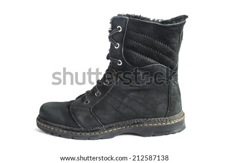 Black shammy winter high boot isolated over white