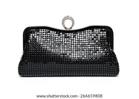 Black shiny clutch on a white background - stock photo