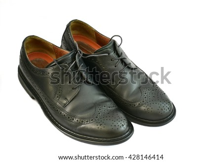 Black Shiny formal male shoes isolated on white background