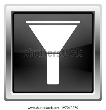 Black shiny glossy icon on white background - stock photo