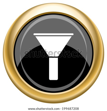 Black shiny glossy icon on white background. - stock photo