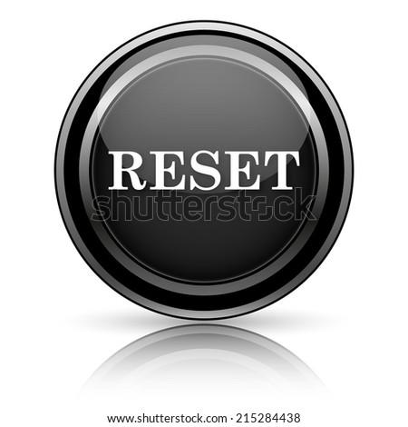 Black shiny icon on white background - stock photo