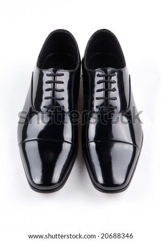 black shiny man's shoe - stock photo