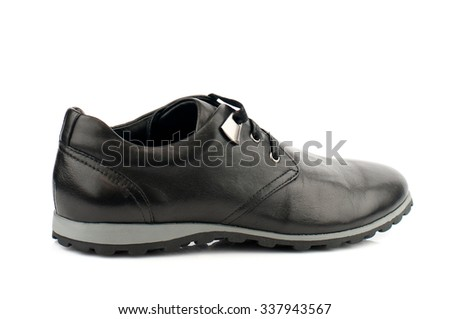 Black shoe with shoelaces isolated on white.Top view.
