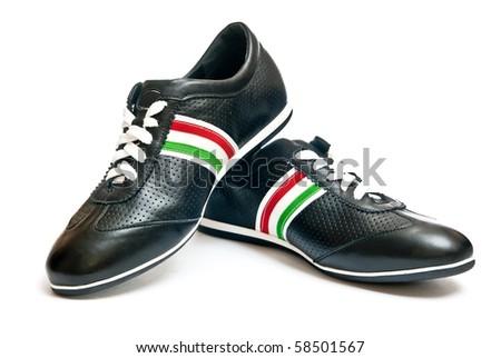 Black shoes isolated on white background - stock photo