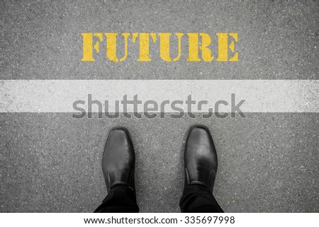 Black shoes standing in front of future line