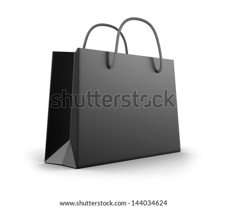Black shopping bag - stock photo
