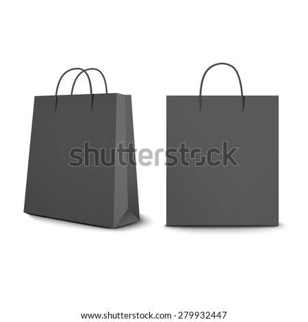 black shopping bags set isolated on white