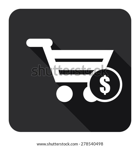 Black Shopping Cart With Dollar Currency Flat Long Shadow Style Icon, Label, Sticker, Sign or Banner Isolated on White Background - stock photo