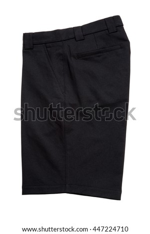 Black short pants, trousers  for men isolated on white background