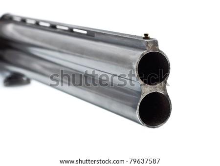 black shotgun barrel isolated on white background - stock photo