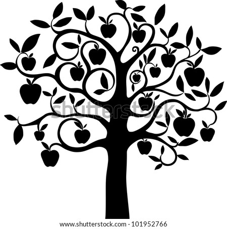 Black silhouette apple tree isolated on White background. Illustration