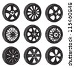 black  silhouette: automotive wheel with alloy wheels and tires - stock photo