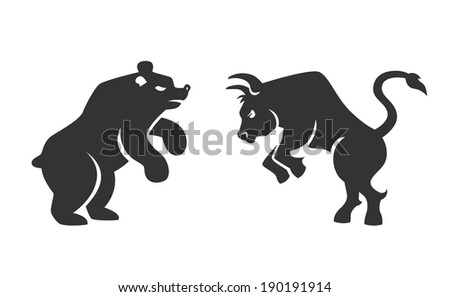 black silhouette bull and bear financial icons depicting the market trends of stocks and shares on the bourse  illustration isolated on white - stock photo
