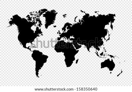 Black silhouette isolated World map.