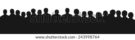 black silhouette of a large audience, panoramic view - stock photo
