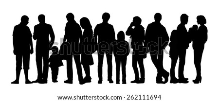 black silhouette of a large group of people with children standing outdoor in different postures - stock photo