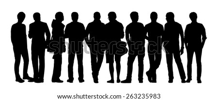 black silhouette of a large group of young men only talking standing in different postures