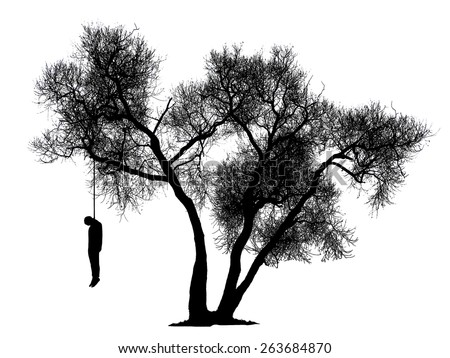 black silhouette of a man hanging from a tree on a white background - stock photo