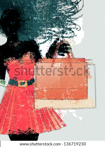 Black silhouette of a shopping woman in red dress with watercolor effect. - stock photo