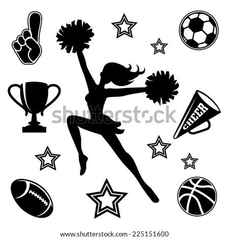 Black silhouette of a young female cheerleader with her pompoms surrounded by associated sport icons  megaphone and trophy