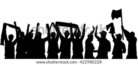 Black silhouette of cheering football fans