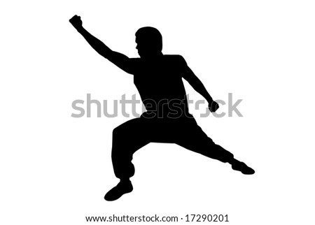 Black silhouette of  karate man boxing high