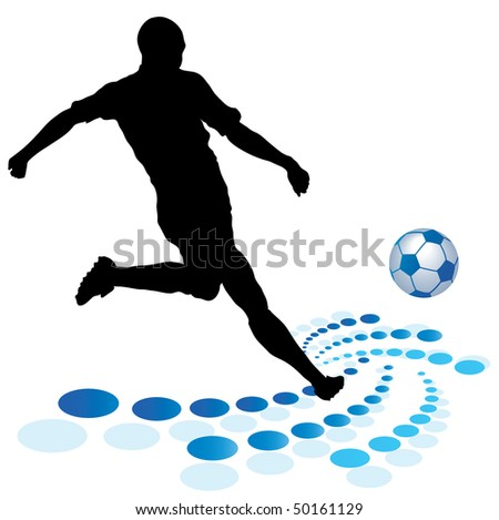 black silhouette of players and ball - stock photo
