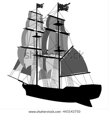 black silhouette of sailing ship on white background