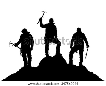 black silhouette of three climbers with ice axe in hand on the white background